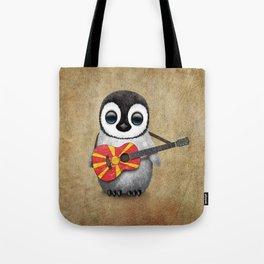Baby Penguin Playing Macedonian Flag Acoustic Guitar Tote Bag