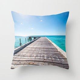 Turks and Caicos beach pier Throw Pillow