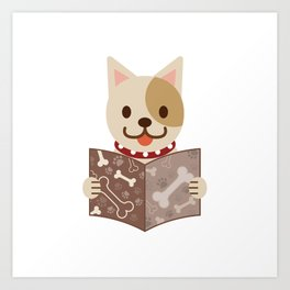 Cute dog with a catalog of bone illustration Art Print