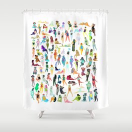 100 tiny ladies Shower Curtain