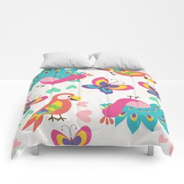 Exotic Birds & Butterflies Pattern Comforters
