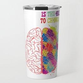 """1N73LL1G3NC3 IS 7H3 4B1L17Y 70 4D4P7 70 CH4NG3"" T-shirt Design Books Library Study Learning Travel Mug"