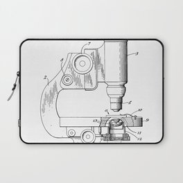 Microscope Patent - Scientist Art - Black And White Laptop Sleeve