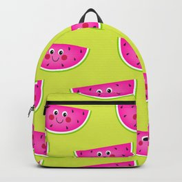 Cute Pink Watermleons on Lime Backpack