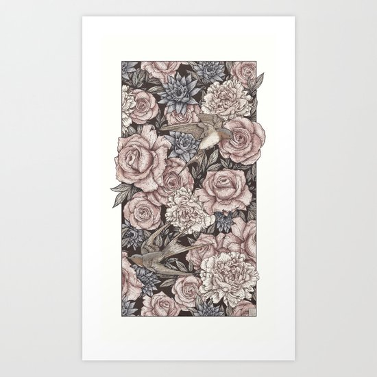 Flowers & Swallows Art Print