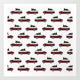 Plaid station wagon suv christmas tree vintage inspired christmas pattern Art Print