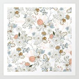 Elegant abstract coral pastel blue modern rustic floral Art Print