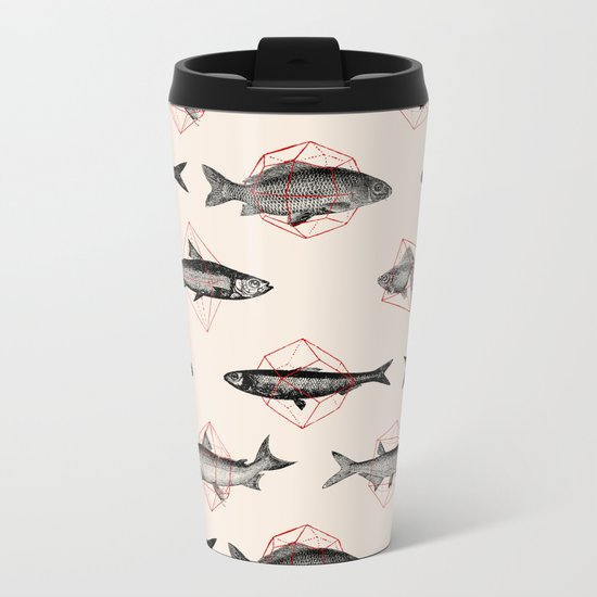 Fishes In Geometrics (Red) Metal Travel Mug