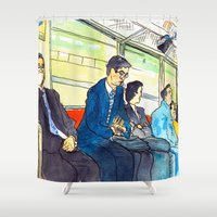 subway Shower Curtains featuring Tokyo subway by adi tsahor