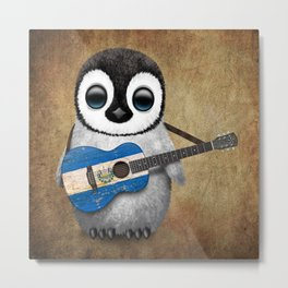 Baby Penguin Playing Salvadorian Flag Acoustic Guitar Metal Print