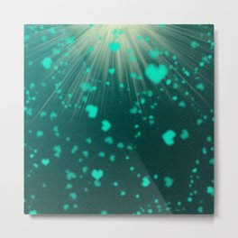 small colored hearts flying petrol mint pattern Metal Print