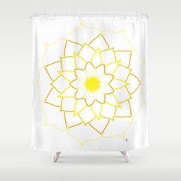 Yellow Mandala Flower Shower Curtain