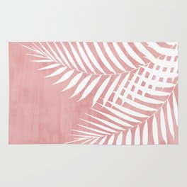 Pink Paint Stroke of Palm Leaves Rug