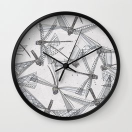 watercolor dragonflies silver Wall Clock