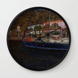 puerto de Mogan painting Pablo Alba Wall Clock