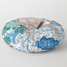Wicker Chair and Delft Plates in Jungle Room Floor Pillow