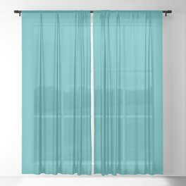 Aqua / Teal / Turquoise Solid Color Pairs with Sherwin Williams 2020 Trending Color Aquarium SW6767 Sheer Curtain