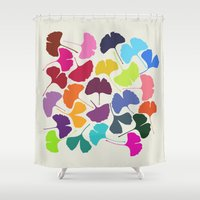 camus Shower Curtains featuring Ginkgo Multicolor by Garima Dhawan