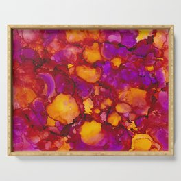Happy spring - Alcohol ink drawing Serving Tray