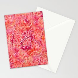 Abundance, Abstract Art Circles Grunge Stationery Cards