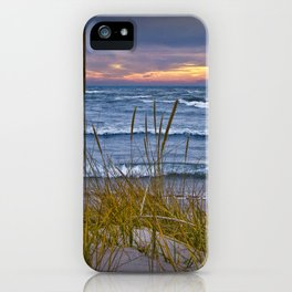 Sunset Photograph of a Dune with Beach Grass at Holland Michigan No 0199 iPhone Case