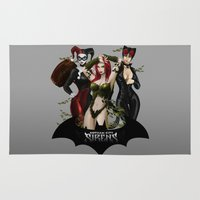 gotham Area & Throw Rugs featuring the Gotham Sirens by Esteban Barrientos