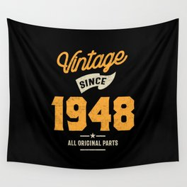 Vintage Since 1948 Birthday Gift Wall Tapestry