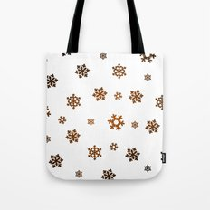 Snowflakes (Bronze and Black on White) Tote Bag