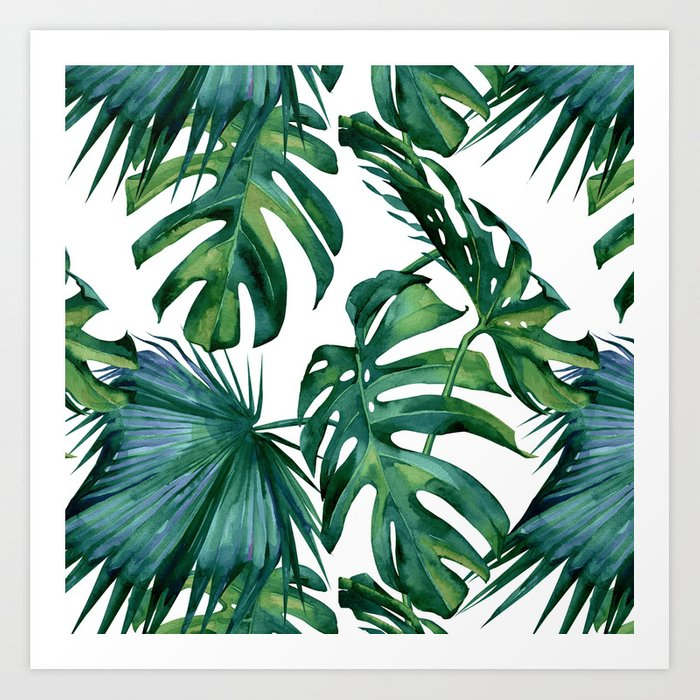 Classic Palm Leaves Tropical Jungle Green Art Print By
