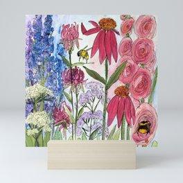 Watercolor Acrylic Cottage Garden Flowers Mini Art Print