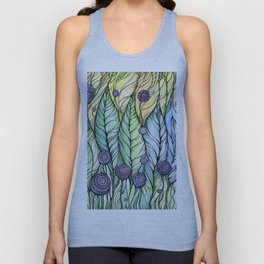 Dandelions.Hand draw  ink and pen, Watercolor, on textured paper Unisex Tank Top