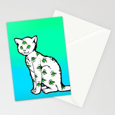 SCAREDY CAT (Cool Colors) Stationery Cards