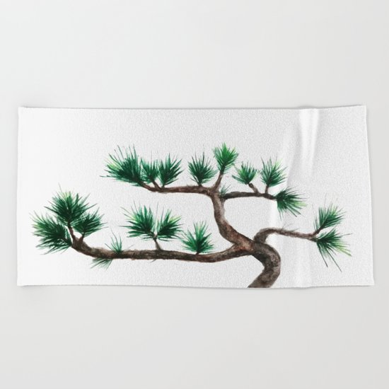 green pine tree painting Beach Towel
