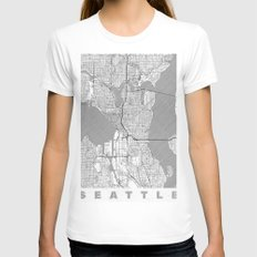 Seattle Map Line White MEDIUM Womens Fitted Tee