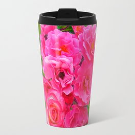 VIBRANT PINK ROSES ON MOSS GREEN PATTERN Travel Mug