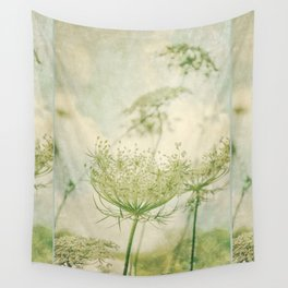 Sanctuary -- White Queen Anne's Lace Meadow Wild Flower Botanical Wall Tapestry