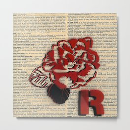 R is for Rose Metal Print
