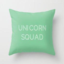 Unicorn Squad - Mint Green and White Throw Pillow