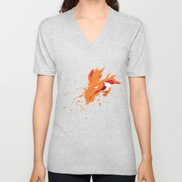 Fox Splatter Canidae Carnivore Canine Mammal Animals Wildlife Gift Unisex V-Neck