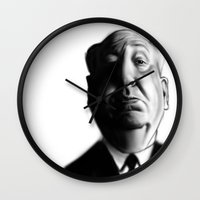 hitchcock Wall Clocks featuring Hitchcock by Rubiao Ferraz Cozer
