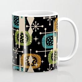 Retro Atomic Mid Century Pattern Black Orange Green and Turquoise Kaffeebecher
