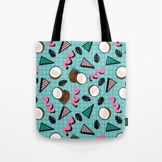 More Coconuts tropical summer vibes memphis abstract pattern print design by wacka Tote Bag