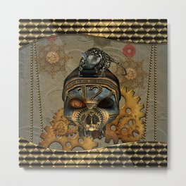 Steampunk, awesome steampunk skull with steampunk rat Metal Print