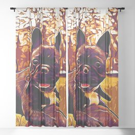 french bulldog basketball vector art late sunset Sheer Curtain