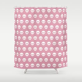 Pixel Skulls - Pink Shower Curtain
