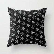 Starfish White on Black Throw Pillow