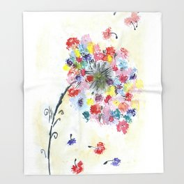 Dandelion watercolor illustration, rainbow colors, summer, free, painting Throw Blanket