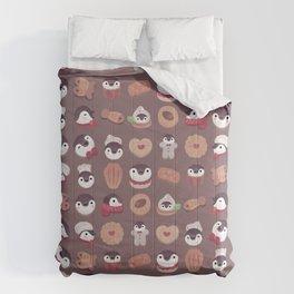 Cookie & cream & penguin - brown  pattern Comforters