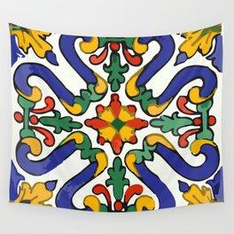 Talavera Royal Blue Green Red  Wall Tapestry