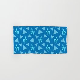Crawling snakes silhouettes and abstract triangle shapes. Stylish classy whimsical artistic dark blue retro vintage geometric animal nature pattern. Reptiles. Geometry. Hand & Bath Towel